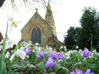 Lullington_Church_with_spring_flowers_-_geograph.org.uk_-_1103346